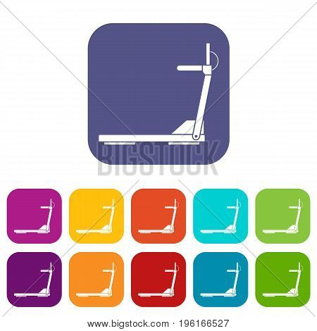 Sport treadmill running road equipment icons set vector illustration in flat style in colors red, blue, green, and other