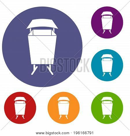 Litter waste bin icons set in flat circle red, blue and green color for web