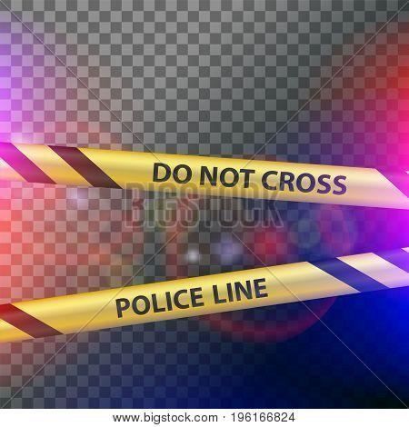 Crime scene. Do not cross police line. Yellow striped warning tape. Stock vector illustration