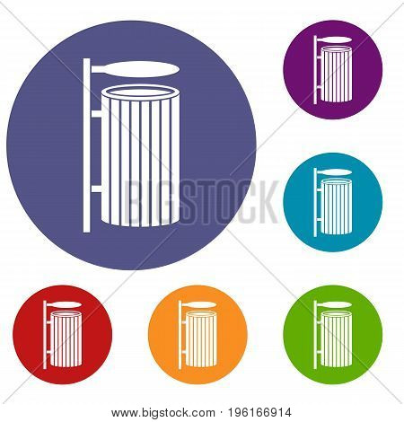 Public trash can icons set in flat circle red, blue and green color for web