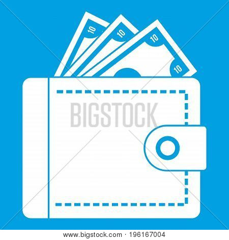 Purse with money icon white isolated on blue background vector illustration