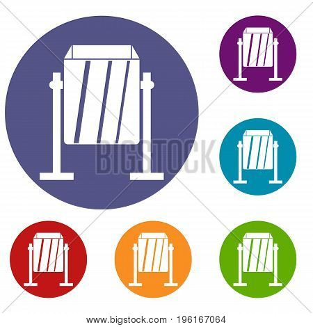 Metal dust bin icons set in flat circle red, blue and green color for web