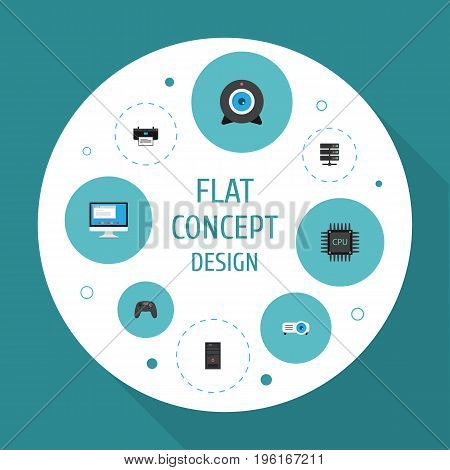 Flat Icons Presentation, Printer, System Unit And Other Vector Elements