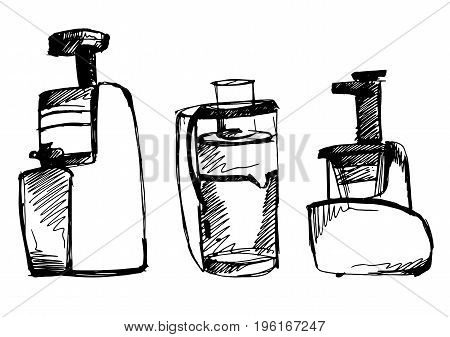 juicer vector sketch illustration. squeezer doodle isolated on white background