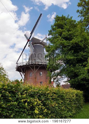 Picturesque view of the windmill in Leer, Germany.