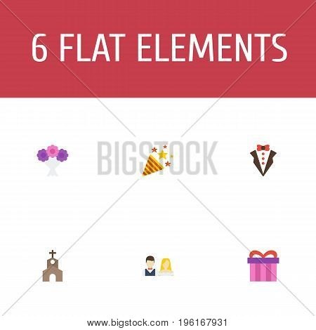 Flat Icons Present, Sparkler, Couple And Other Vector Elements