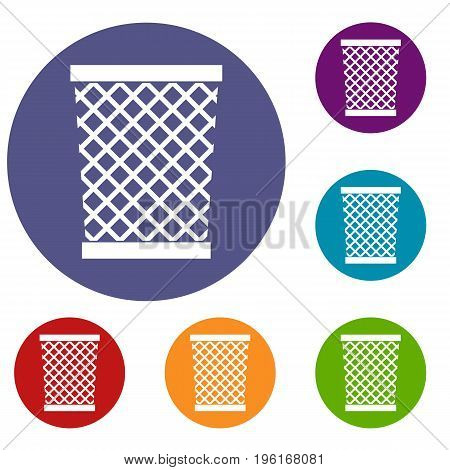 Wastepaper basket icons set in flat circle red, blue and green color for web
