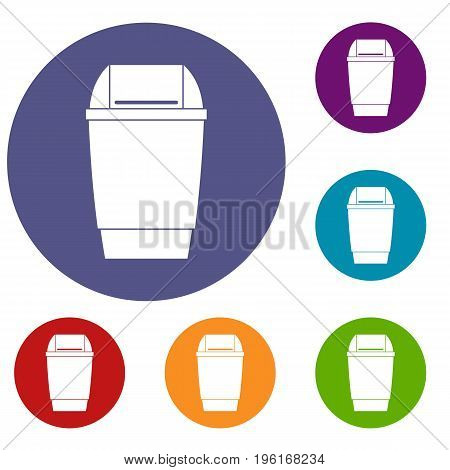 Flip lid bin icons set in flat circle red, blue and green color for web