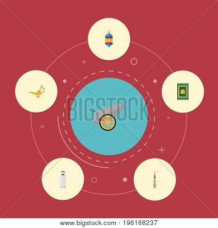 Flat Icons Artillery, Arabian, Islamic Lamp And Other Vector Elements