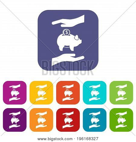 Piggy bank and hands icons set vector illustration in flat style in colors red, blue, green, and other