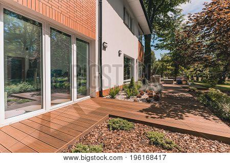 Villa Porch On Sunny Day