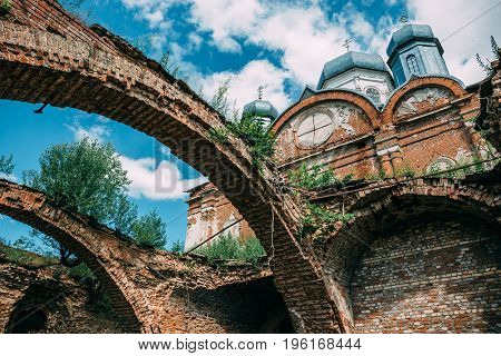 Ruins of destroyed and demolished abandoned Orthodox church or temple, toned