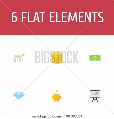 Flat Icons Bar Diagram, Small Change, Growing Chart And Other Vector Elements
