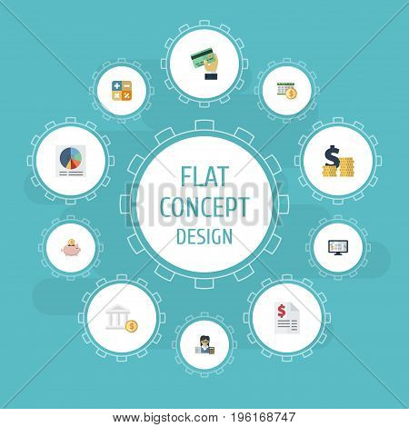 Flat Icons Pie Bar, Card, Algebra And Other Vector Elements