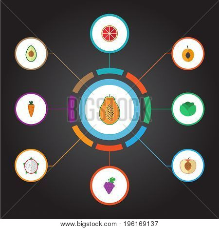 Flat Icons Cluster, Peach, Orange And Other Vector Elements