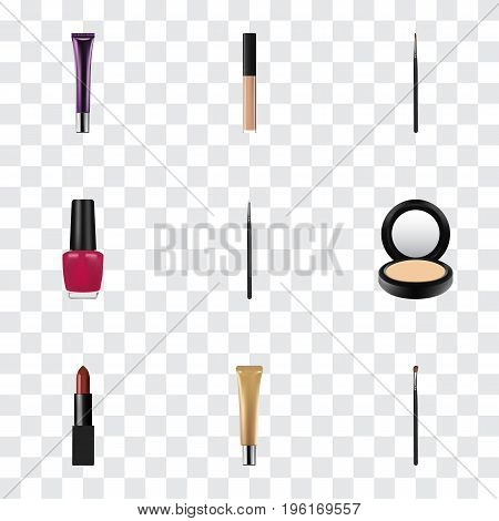 Realistic Eye Paintbrush, Brush, Blusher And Other Vector Elements