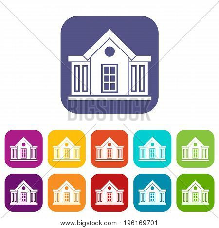 Mansion icons set vector illustration in flat style in colors red, blue, green, and other
