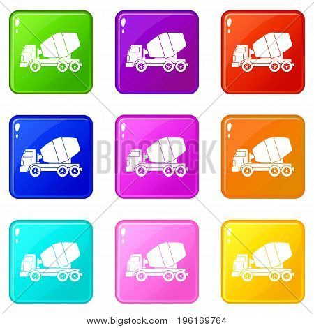Truck concrete mixer icons of 9 color set isolated vector illustration