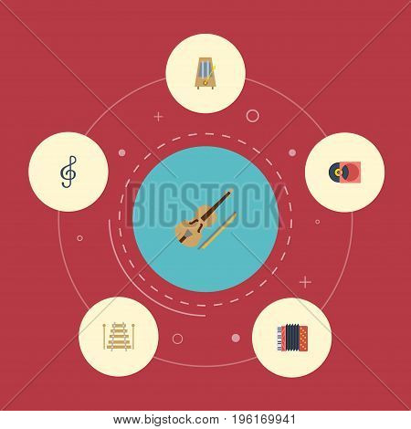 Flat Icons Musical Instrument, Retro Disc, Fiddle And Other Vector Elements
