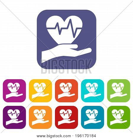 Hand holding heart with ecg line icons set vector illustration in flat style in colors red, blue, green, and other