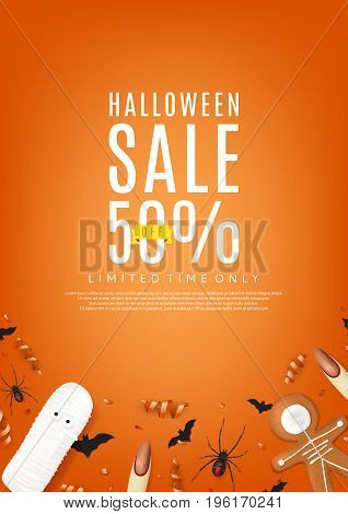 Beautiful orange web banner for halloween sale. Top view on paper bats, confetti and spiders. Vector illustration with cookies in form of skeleton gingerbread man. Special seasonal offer.