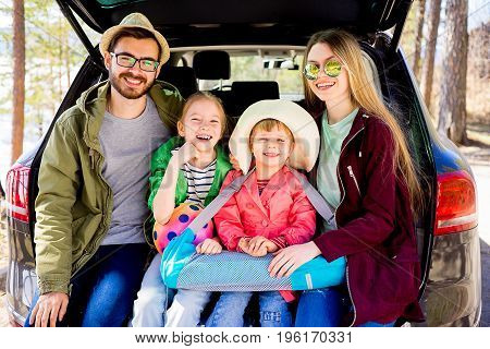 Happy family is going on vacation together