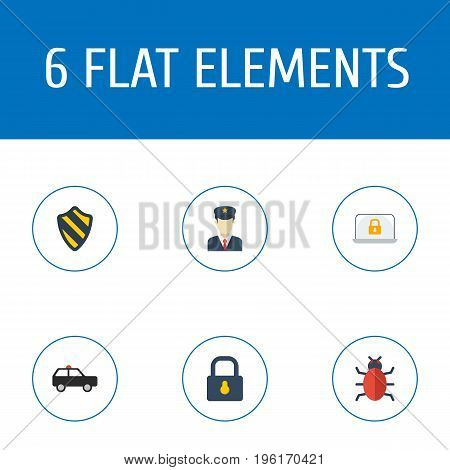 Flat Icons Shield, Lock, Padlock And Other Vector Elements
