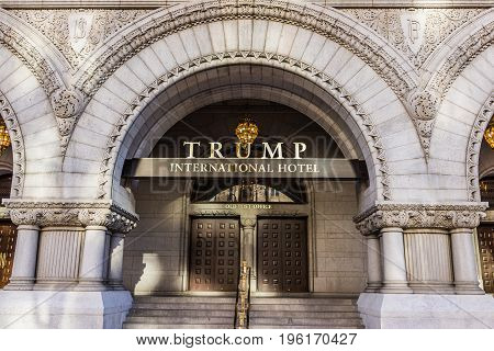 Washington Dc, Usa - January 28, 2017: Trump International Hotel And The Old Post Office Tower Entra