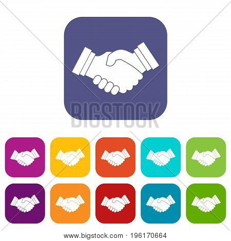 Business handshake icons set vector illustration in flat style in colors red, blue, green, and other