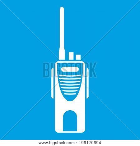 Radio transmitter icon white isolated on blue background vector illustration