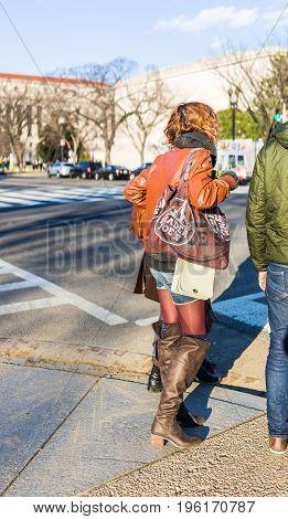 Washington Dc, Usa - January 28, 2017: Woman Holding Trader Joes Bag Waiting To Cross Street