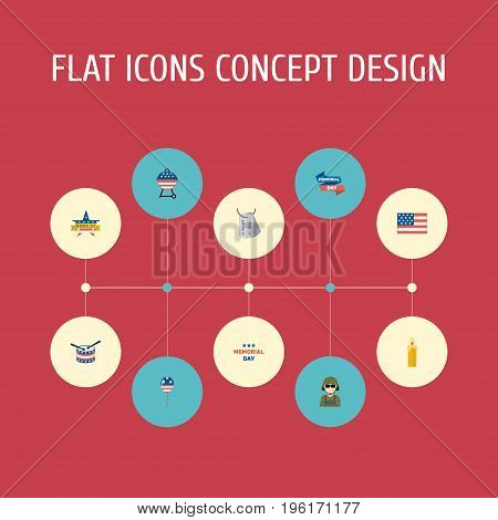 Flat Icons Musical Instrument, Identity, Holiday And Other Vector Elements
