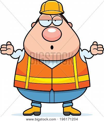 Confused Cartoon Road Worker