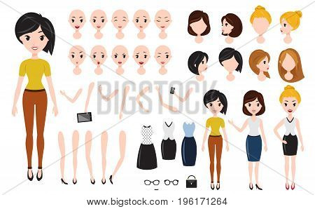 Woman character creation set. Self-confident businesswoman, attractive assistant, effective salesperson, girlboss. Build your own design. Cartoon flat-style infographic illustration isolated on white background.