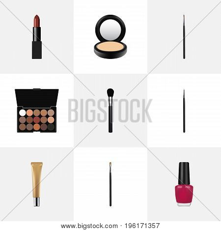 Realistic Pomade, Collagen Tube, Brow Makeup Tool And Other Vector Elements