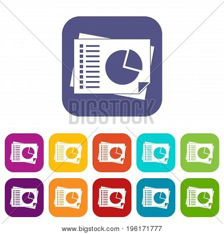 Sheets of paper with charts icons set vector illustration in flat style in colors red, blue, green, and other
