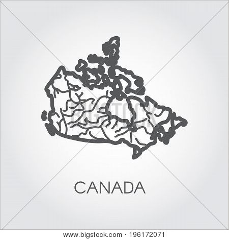 Vector sketch map of Canada in line style. Graphic icon of country for cartography, geography, education projects and other design needs