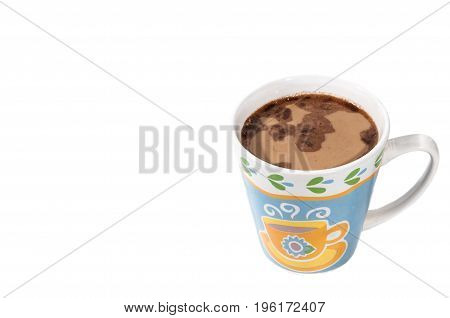 Cup of black coffee with milk. Isolated on a white background.