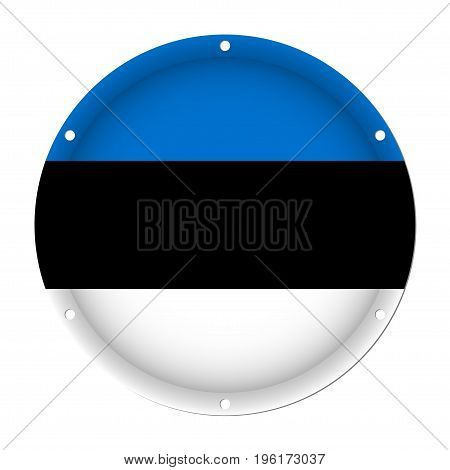 round metallic flag of Estonia with six screw holes in front of a white background