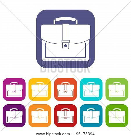 Business briefcase icons set vector illustration in flat style in colors red, blue, green, and other