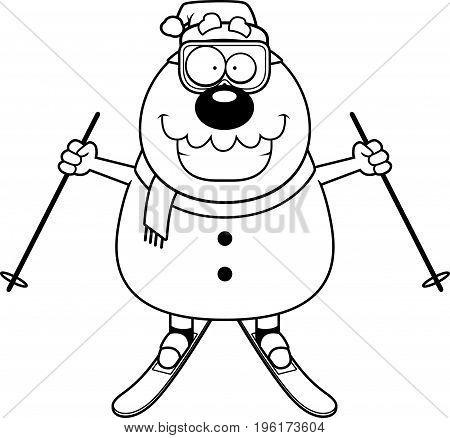 Cartoon Snowman Santa Skiing