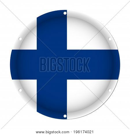 round metallic flag of Finland with six screw holes in front of a white background
