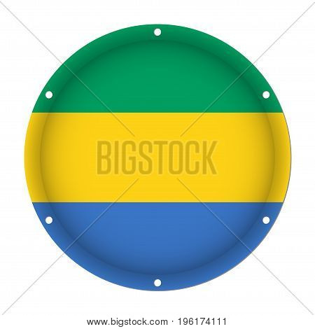 round metallic flag of Gabon with six screw holes in front of a white background