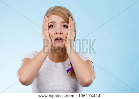 Tired Woman With Hands On Face