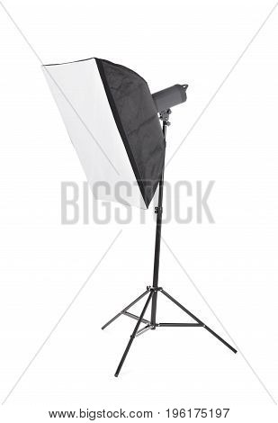 Studio lighting equipment icon, isolated on a white background. A stylish strip softbox for a photo studio. A new saturated black tripod. Studio light on stand.