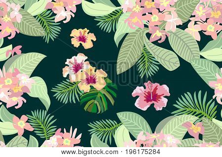 Seamless vector pattern with tropical flowers and foliage. Summer textile collection. On dark green background.