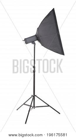 Photographic equipment lighting board theme elements. Side view studio flash isolated on white background. Professional studio equipment. Studio flash with soft-box. A long and black stripsoft box.