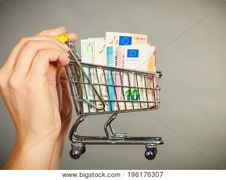 Economy concept. Woman hand holding small shopping cart trolley with money inside