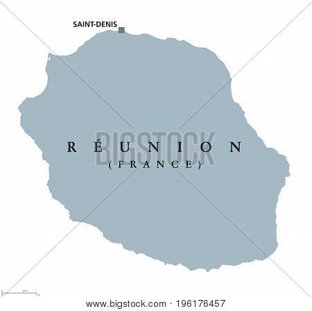 Reunion political map with capital Saint-Denis. Island. Overseas department of France in the Indian Ocean, east of Madagascar. Gray illustration isolated on white background. English labeling. Vector.