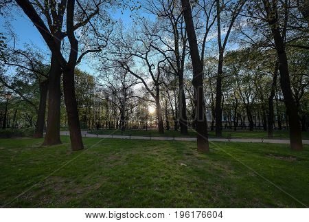 The park opposite of St. Isaac's Cathedral in Saint-Petersburg Russia. It's big park and near Neva river at the Saint-Petersburg Russia